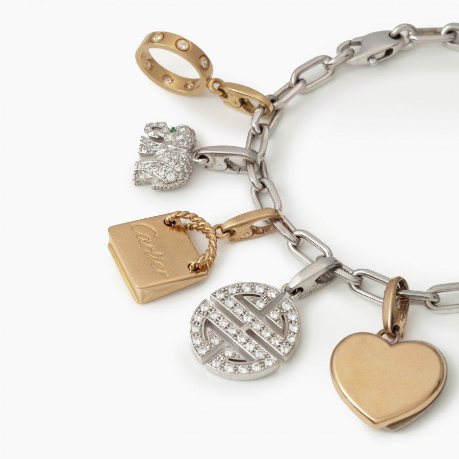 Cartier charm bracelet diamond set in original case