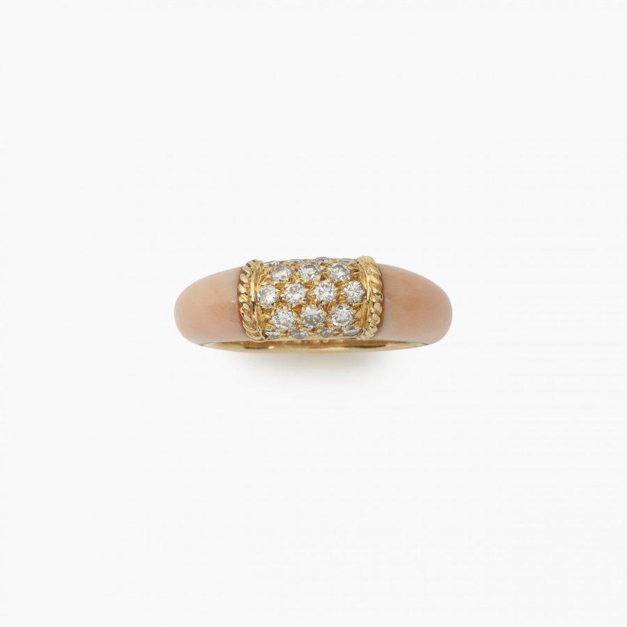 Van Cleef & Arpels Paris ring Philippine coral diamonds 1968