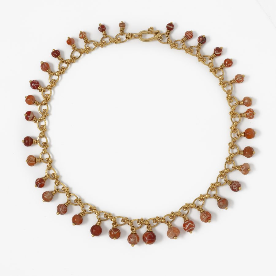 Necklace with antique carnelian beads by Skoluda, made in Hamburg in 1994