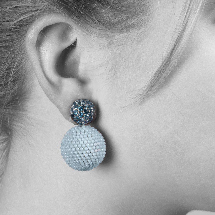 Hemmerle earrings aquamarine and blue chalcedony ca 2005
