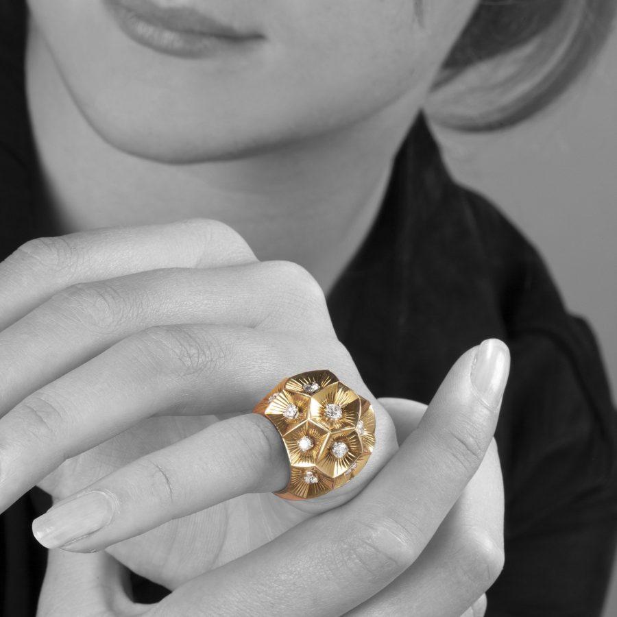 Cartier bombé diamond ring, made in Paris, ca 1950