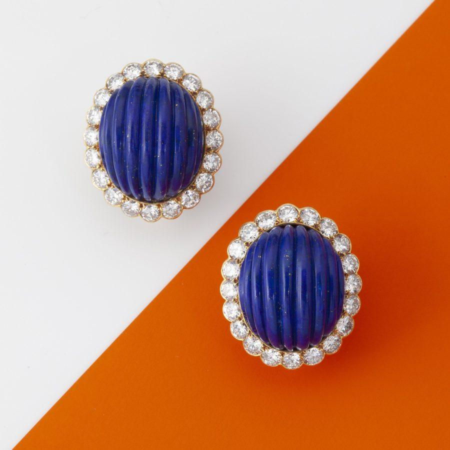 Cartier lapis lazuli and diamond clip earrings, Paris ca 1970